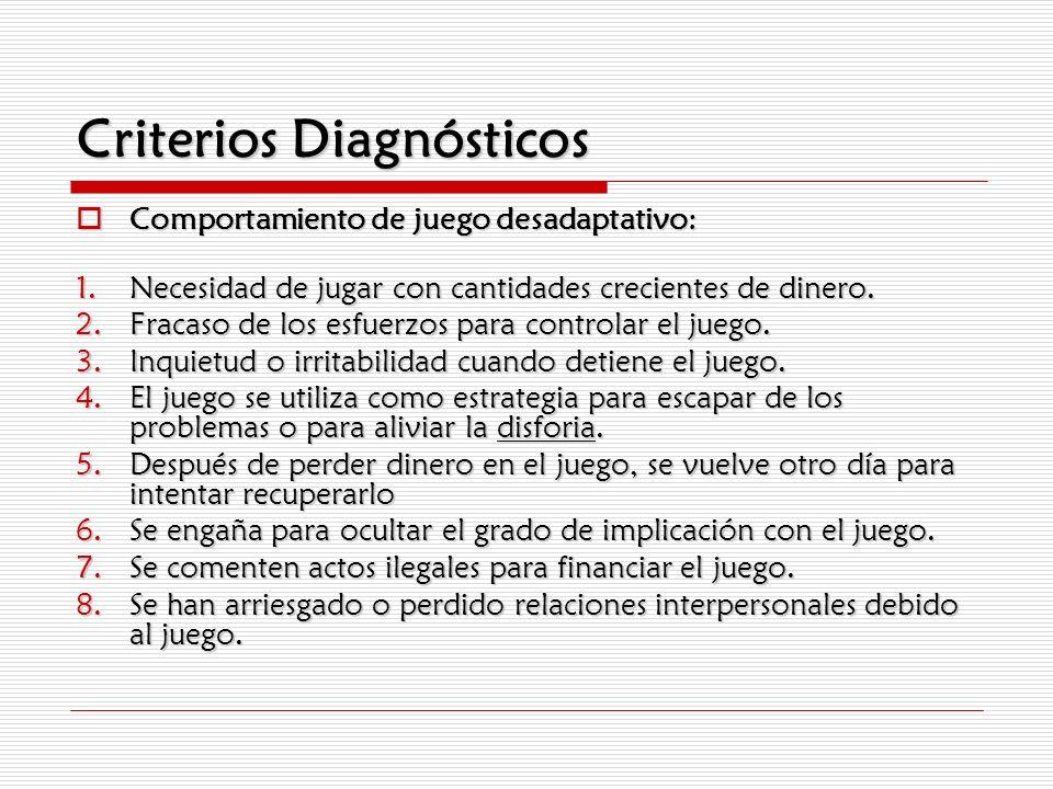 Criterios Diagnósticos Comportamiento de juego desadaptativo: Comportamiento de juego desadaptativo: 1.Necesidad de jugar con cantidades crecientes de