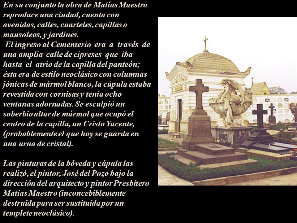 En su conjunto la obra de Matías Maestro reproduce una ciudad, cuenta con avenidas, calles, cuarteles, capillas o mausoleos, y jardines.