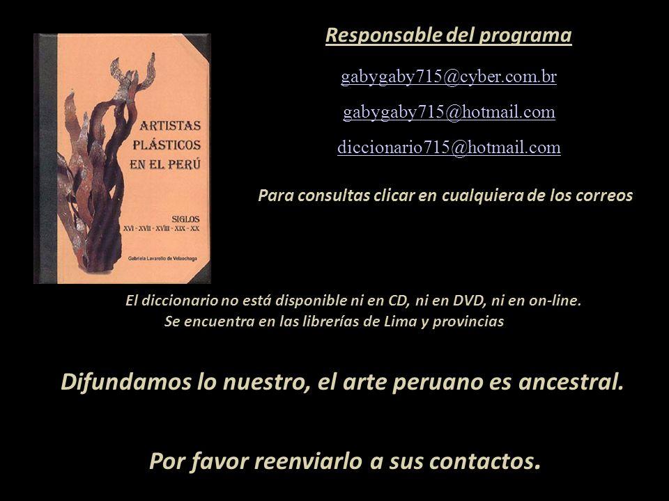 Representante de Ventas MARTA COUTO REVOLLEDO 441-3238 - Lima-Perú Artista que figura en el diccionario Carátula, escultura de Armando Varela Neyra Li