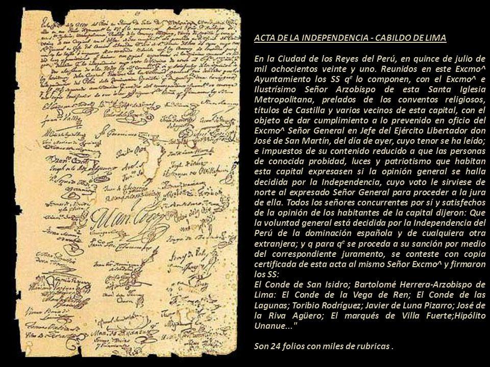 Acta de la Independencia del Perú 15 de julio de 1821. Libro del Cabildo Nº 45, foja 69