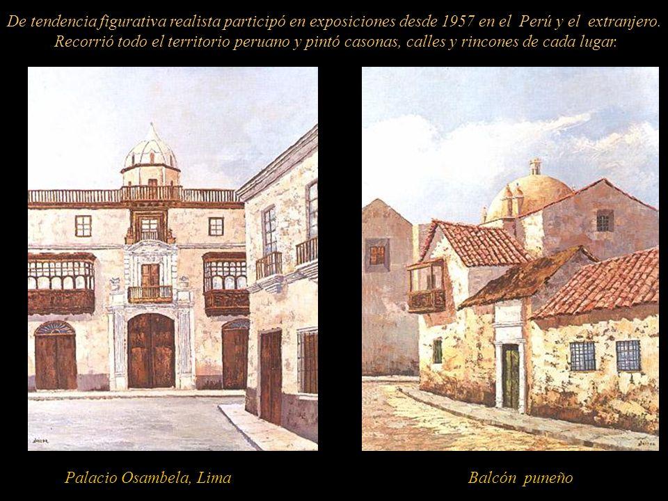 Dibujo a tinta, Patio Tambo Ruelas, 2000Oleo-Espátula, Viejo Tambo Acuarela, Camino a casa, 1996 Dominador de todas las técnicas de pintura, su dibujo y perspectiva, fue impecable.