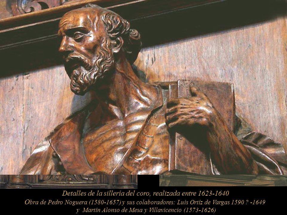 Sillería del coro. Según el S.J Bernabé Cobo (1580-1657) son 76 sillas de cedro repartidas en dos andenes, alto y bajos. La silla arzobispal excede en