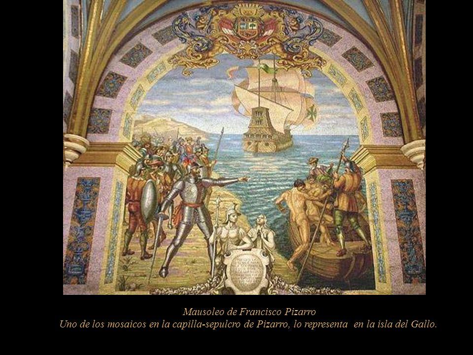 Catacumba En la primera capilla, en la nave derecha, se encuentra el sarcófago (del siglo XX) con los verdaderos restos de Francisco Pizarro; las pare