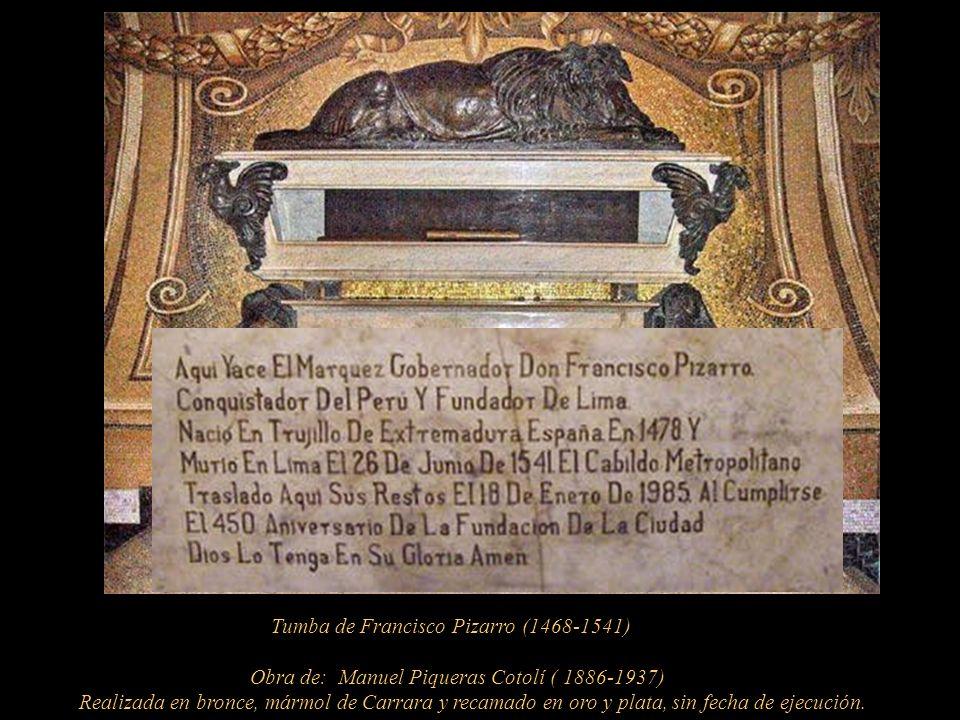 Mausoleo de Francisco Pizarro Uno de los mosaicos en la capilla-sepulcro de Pizarro, lo representa en la isla del Gallo.