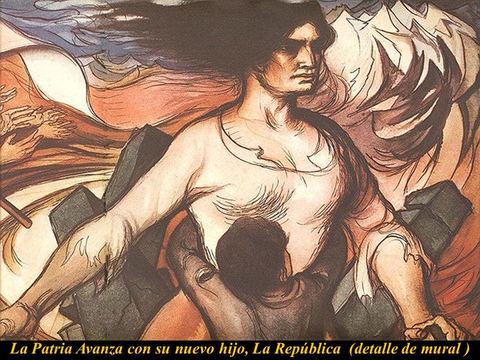 La Patria Avanza con su nuevo hijo, La República (detalle de mural )