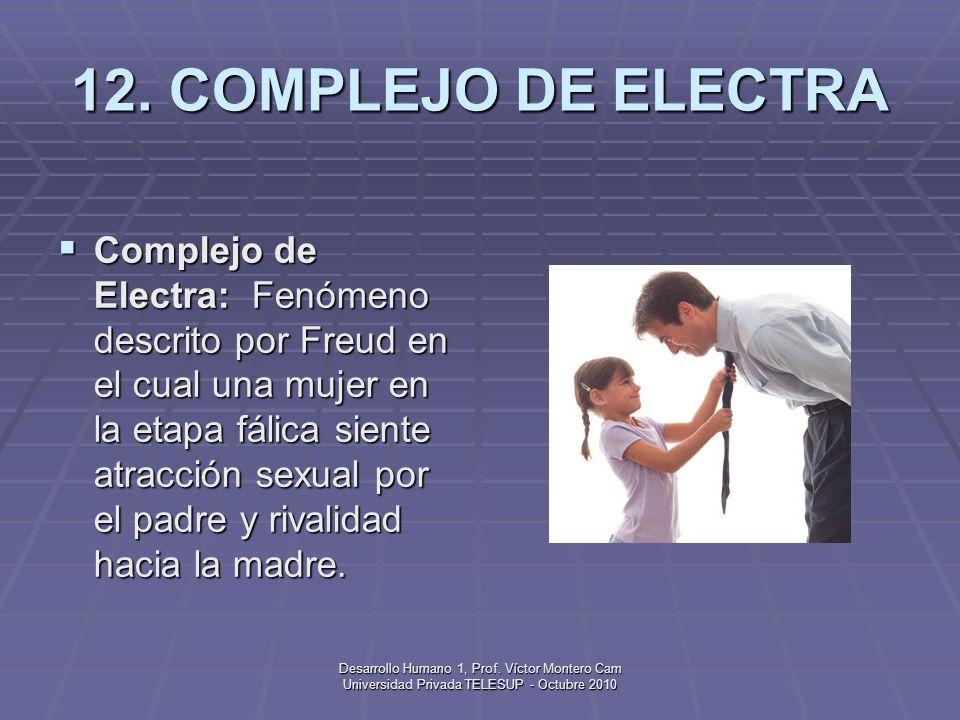 Desarrollo Humano 1, Prof. Víctor Montero Cam Universidad Privada TELESUP - Octubre 2010 11. COMPLEJO DE EDIPO Complejo de Edipo: Fenómeno descrito po