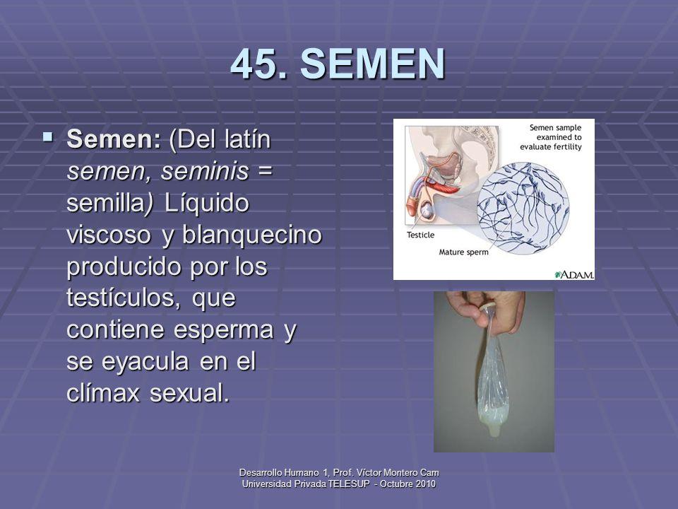 Desarrollo Humano 1, Prof. Víctor Montero Cam Universidad Privada TELESUP - Octubre 2010 44. REPRESIÓN Represión: Según Freud, un mecanismo de defensa
