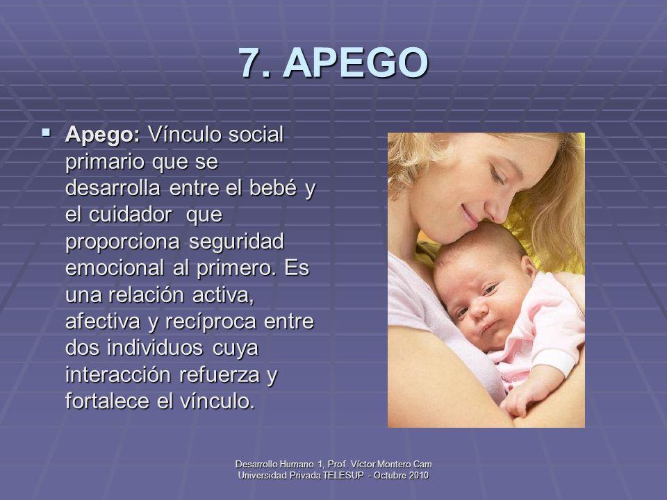 Desarrollo Humano 1, Prof. Víctor Montero Cam Universidad Privada TELESUP - Octubre 2010 6. ANOXIA Anoxia: Ausencia de oxígeno; complicación en el mom