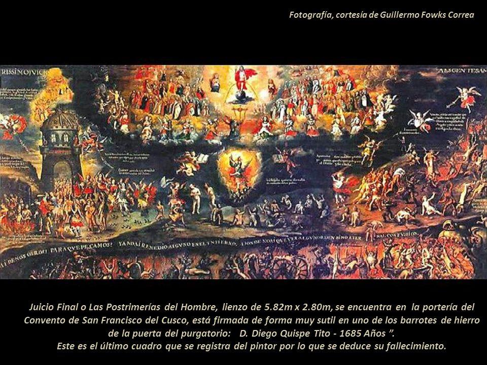 Piscis. Parábola, la vocación de los Apóstoles. Marcos 1. Detalle con la firma que se lee: D. Diego Quispe Tito 1681