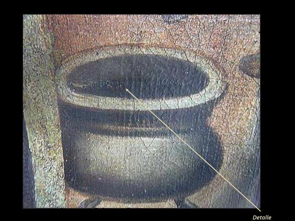La Sagrada Familia y los ángeles En colección privada La discreta firma se encuentra dentro de la boca de la olla