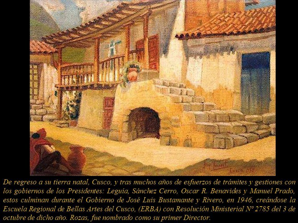 Pintor. Nació en Cusco y falleció en Lima. Nieto del Dr.Teodoro Rozas de la Cámara, Rector de la Universidad del Cusco y considerado como el primer an