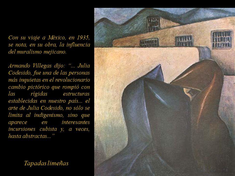 Julia viajó a México en 1935 donde florecía el movimiento pictórico surgido de la revolución. Participó en el Primer Congreso de Artistas Americanos d
