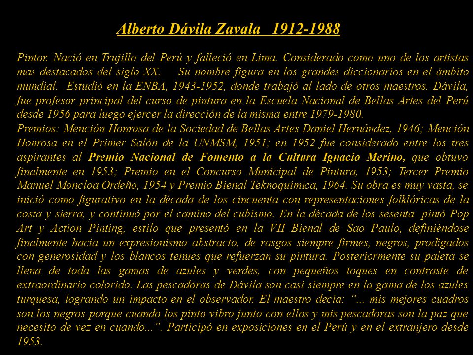 A rte Colonial Peruano Escuela Italiana siglos XVI y XVII Presentación Nº 45 Gabriela Lavarello de Velaochaga (Perú) junio 2010. Alberto Dávila Zavala