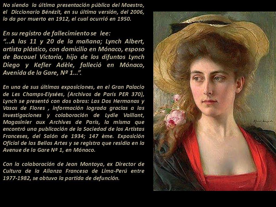 No siendo la última presentación pública del Maestro, el Diccionario Bénézit, en su última versión, del 2006, lo da por muerto en 1912, el cual ocurrió en 1950..------...................................