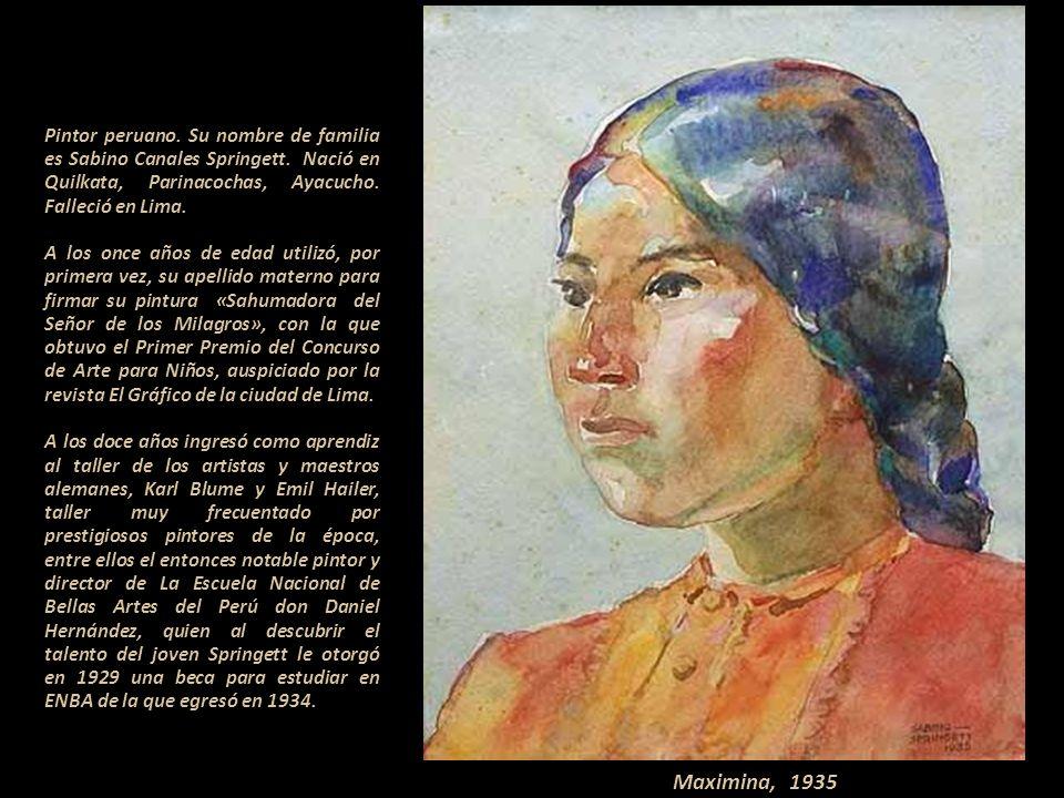 Sabino Springett 1913-2006 Pintor peruano Presentación Nº 55 Gabriela Lavarello Vargas de Velaochaga Perú - abril 2011 Autorretrato 1936