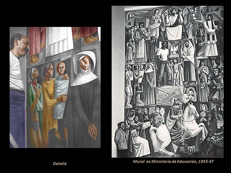 Caleta Norteña (detalle) óleo 1957 Durante su trayectoria artística recibió innumerables condecoraciones y premios en el Perú y el extranjero. Entre e