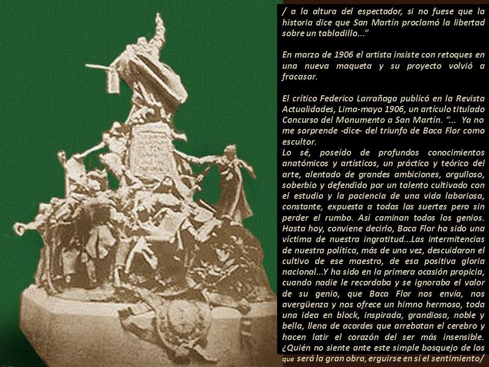 Boceto, escultura por Baca-Flor. Proyecto monumento a San Martín. Imagen, cortesía Museu de Terrasa-Barcelona Como escultor, en agosto de 1905, acudió