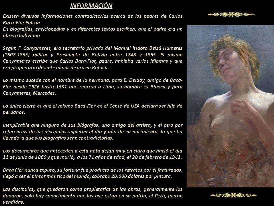 INFORMACIÓN Existen diversas informaciones contradictorias acerca de los padres de Carlos Baca-Flor Falcón.