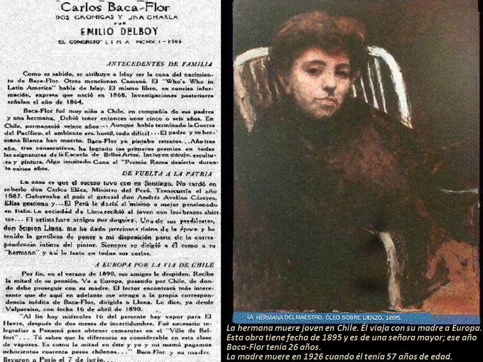 Al lograr el premio de 1907 en el Salón Anual de Artistas Franceses, su obra se expuso en el Salón de Honor; hay que resaltar que el propio Baca-Flor, no se postuló, lo hizo el Marqués de la Pallice quien presentó el retrato que le pintó.