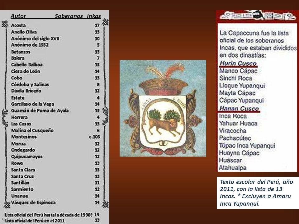 Inca Garcilaso de la Vega, publ. año 1609,,,,,,,,,,, Hipólito Unanue Pavón, publ. año 1793.......... Lázaro Costa Villavicencio, publ. año 1975 ---- H