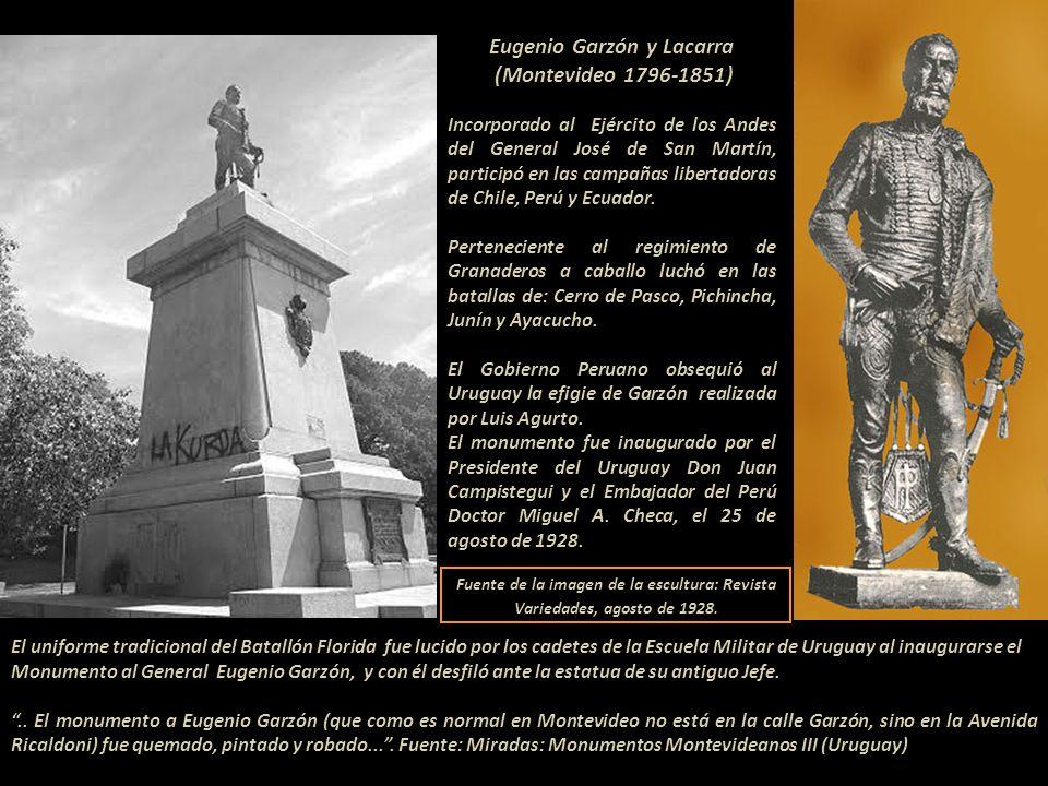 Eugenio Garzón y Lacarra (Montevideo 1796-1851) Incorporado al Ejército de los Andes del General José de San Martín, participó en las campañas libertadoras de Chile, Perú y Ecuador.