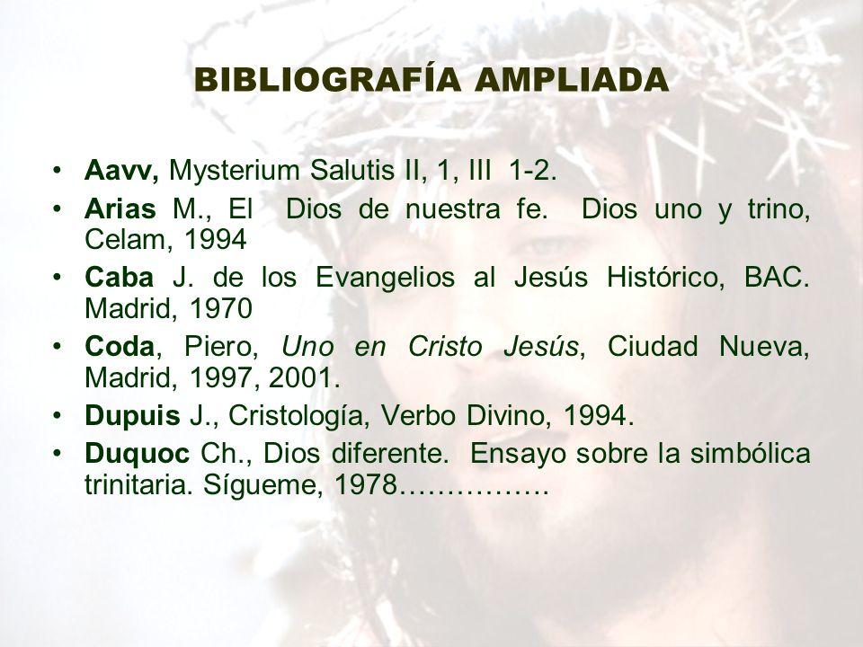 BIBLIOGRAFÍA AMPLIADA Aavv, Mysterium Salutis II, 1, III 1-2. Arias M., El Dios de nuestra fe. Dios uno y trino, Celam, 1994 Caba J. de los Evangelios