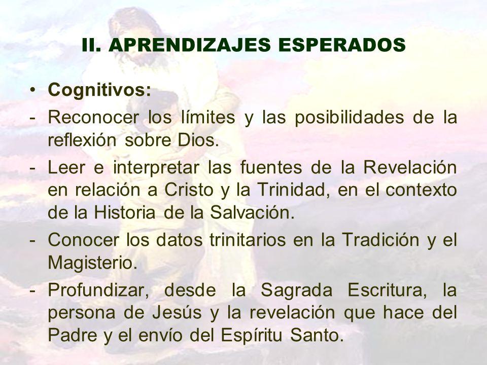 II. APRENDIZAJES ESPERADOS Cognitivos: -Reconocer los límites y las posibilidades de la reflexión sobre Dios. -Leer e interpretar las fuentes de la Re
