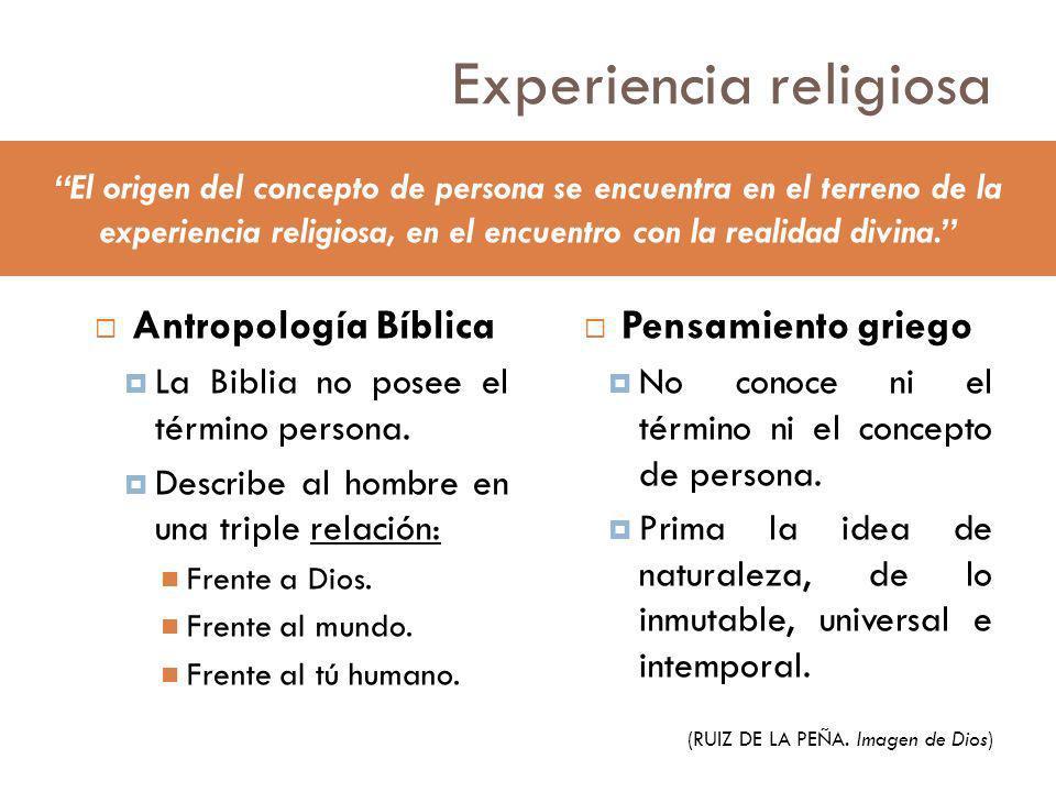 Experiencia religiosa Antropología Bíblica La Biblia no posee el término persona. Describe al hombre en una triple relación: Frente a Dios. Frente al