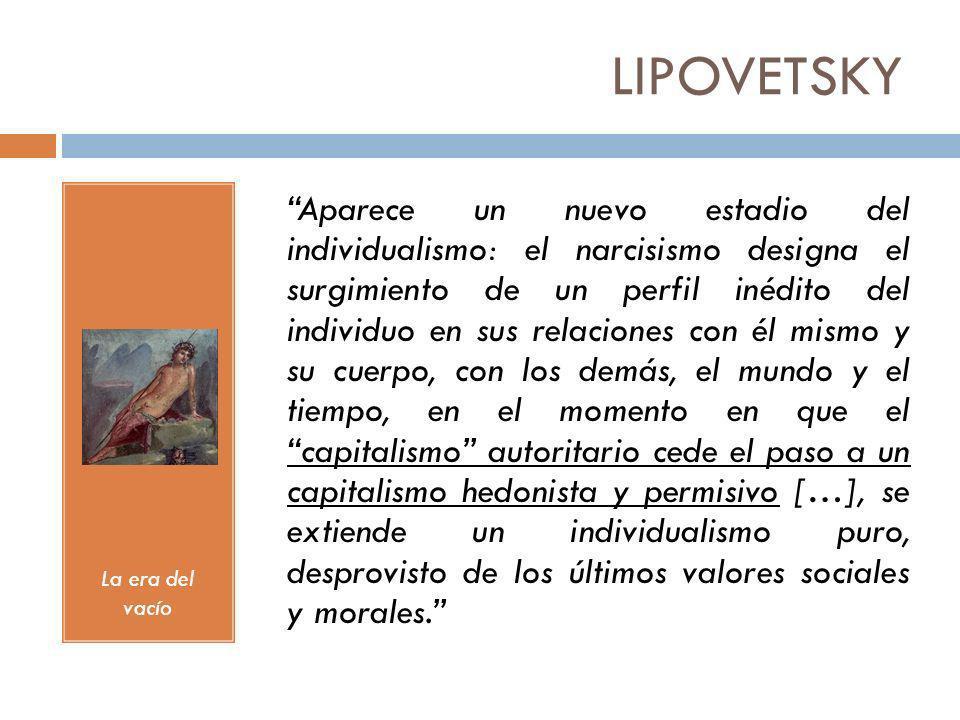 LIPOVETSKY La era del vacío Aparece un nuevo estadio del individualismo: el narcisismo designa el surgimiento de un perfil inédito del individuo en su