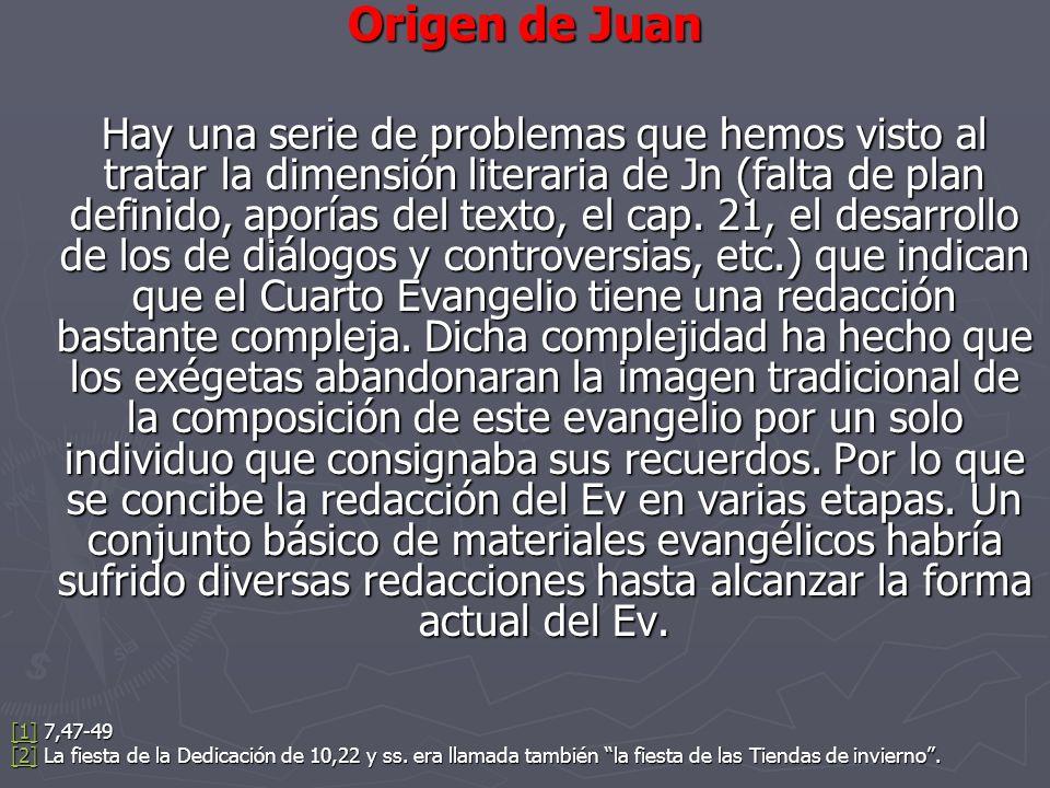 Origen de Juan Hay una serie de problemas que hemos visto al tratar la dimensión literaria de Jn (falta de plan definido, aporías del texto, el cap. 2