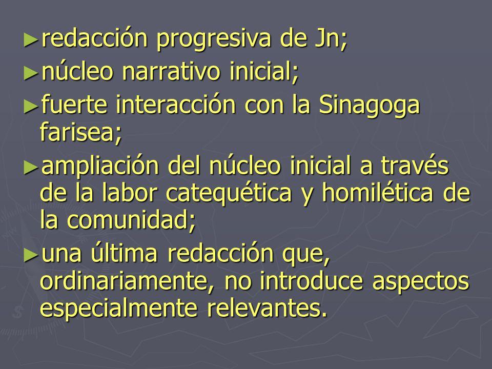 redacción progresiva de Jn; redacción progresiva de Jn; núcleo narrativo inicial; núcleo narrativo inicial; fuerte interacción con la Sinagoga farisea