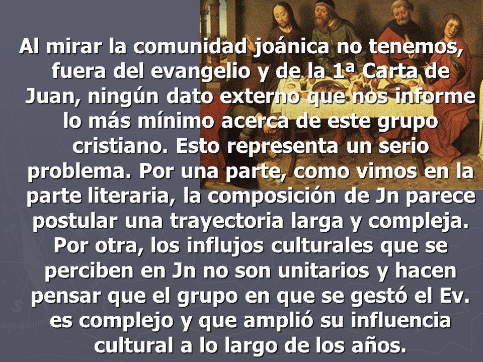 Al mirar la comunidad joánica no tenemos, fuera del evangelio y de la 1ª Carta de Juan, ningún dato externo que nos informe lo más mínimo acerca de es