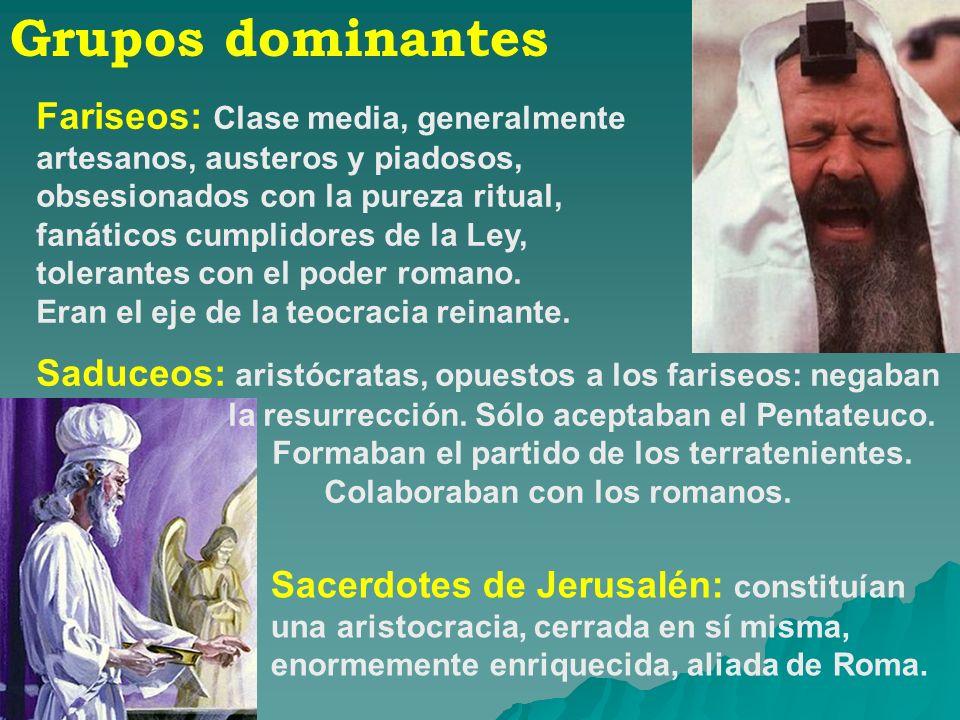 Grupos dominantes Fariseos: Clase media, generalmente artesanos, austeros y piadosos, obsesionados con la pureza ritual, fanáticos cumplidores de la L
