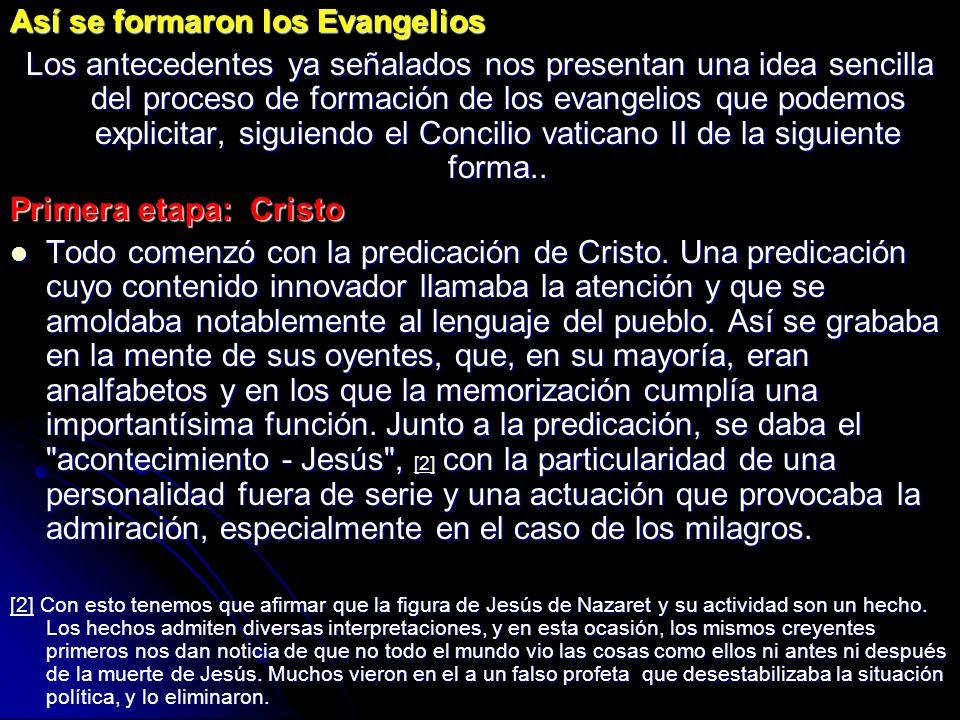 Así se formaron los Evangelios Los antecedentes ya señalados nos presentan una idea sencilla del proceso de formación de los evangelios que podemos ex