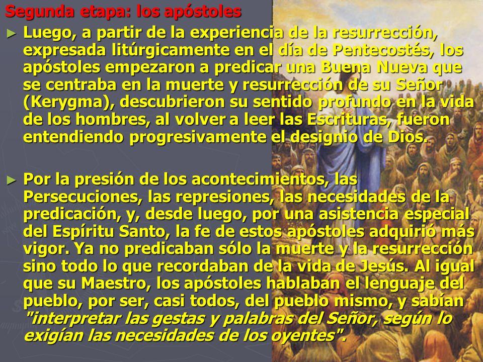 Segunda etapa: los apóstoles Luego, a partir de la experiencia de la resurrección, expresada litúrgicamente en el día de Pentecostés, los apóstoles em