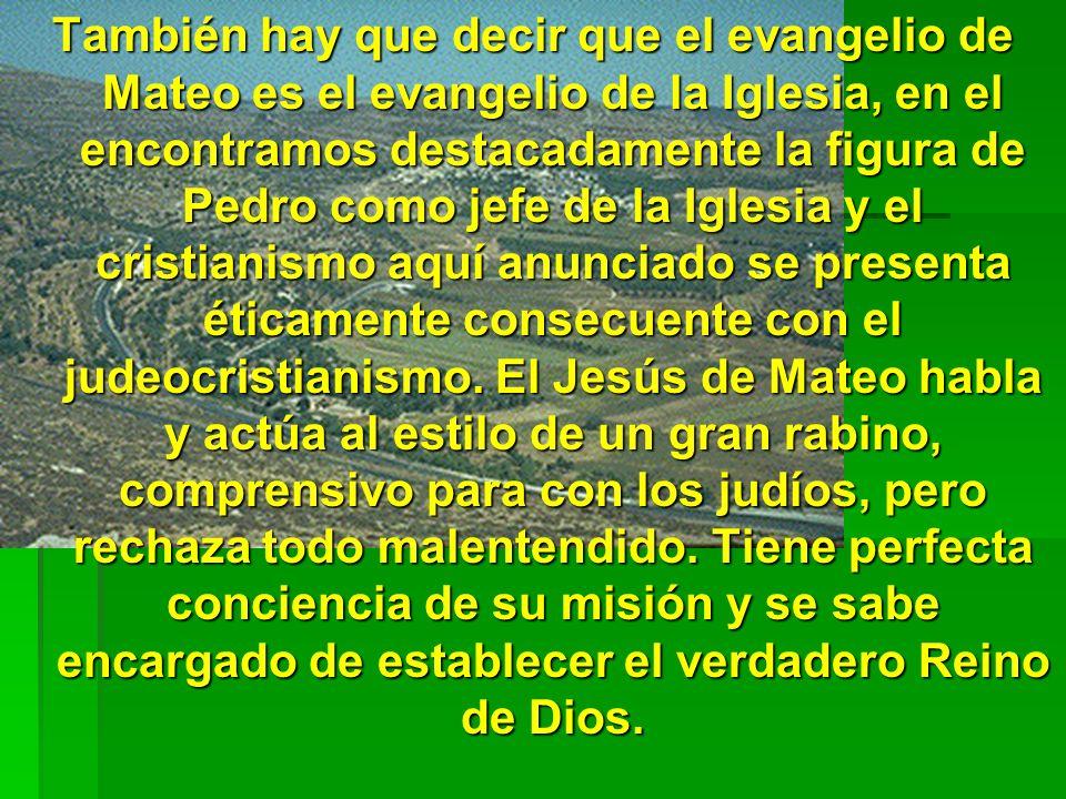 También hay que decir que el evangelio de Mateo es el evangelio de la Iglesia, en el encontramos destacadamente la figura de Pedro como jefe de la Igl