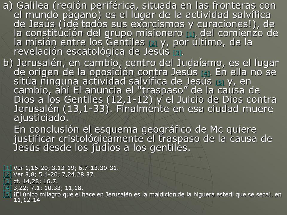 a) Galilea (región periférica, situada en las fronteras con el mundo pagano) es el lugar de la actividad salvífica de Jesús (¡de todos sus exorcismos