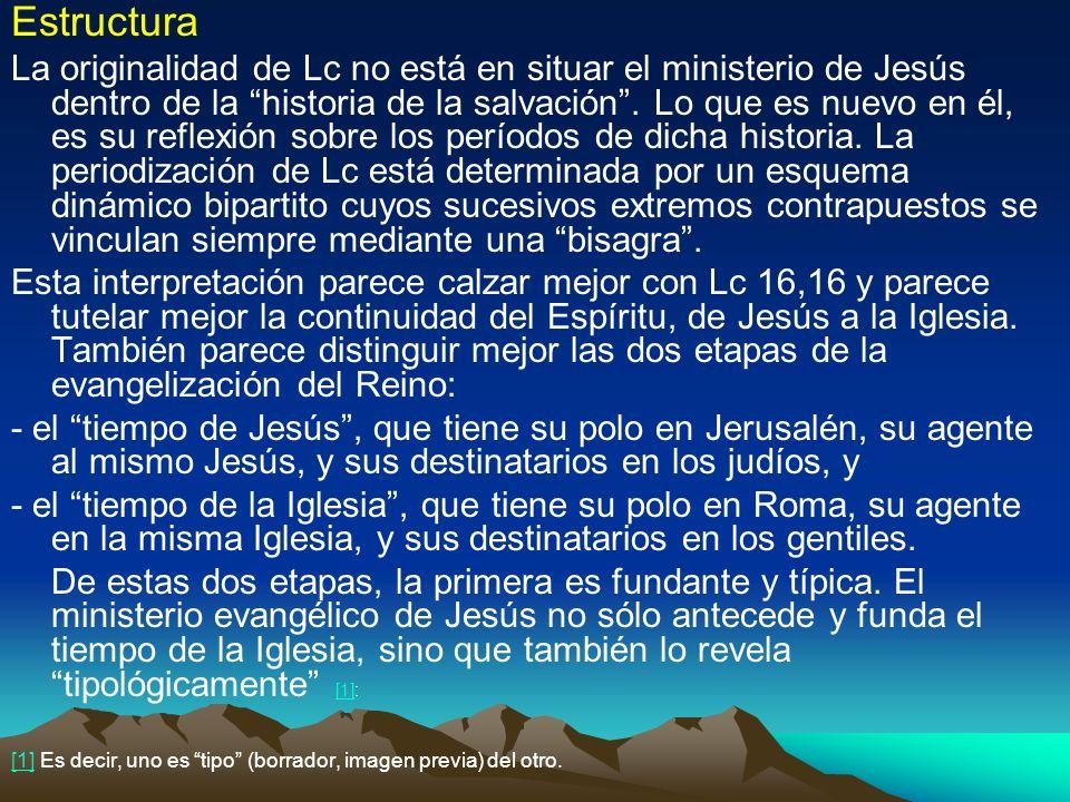 Estructura La originalidad de Lc no está en situar el ministerio de Jesús dentro de la historia de la salvación. Lo que es nuevo en él, es su reflexió