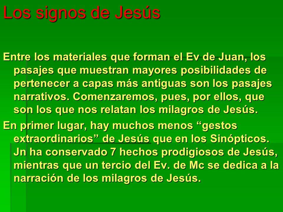 Los signos de Jesús Entre los materiales que forman el Ev de Juan, los pasajes que muestran mayores posibilidades de pertenecer a capas más antiguas s