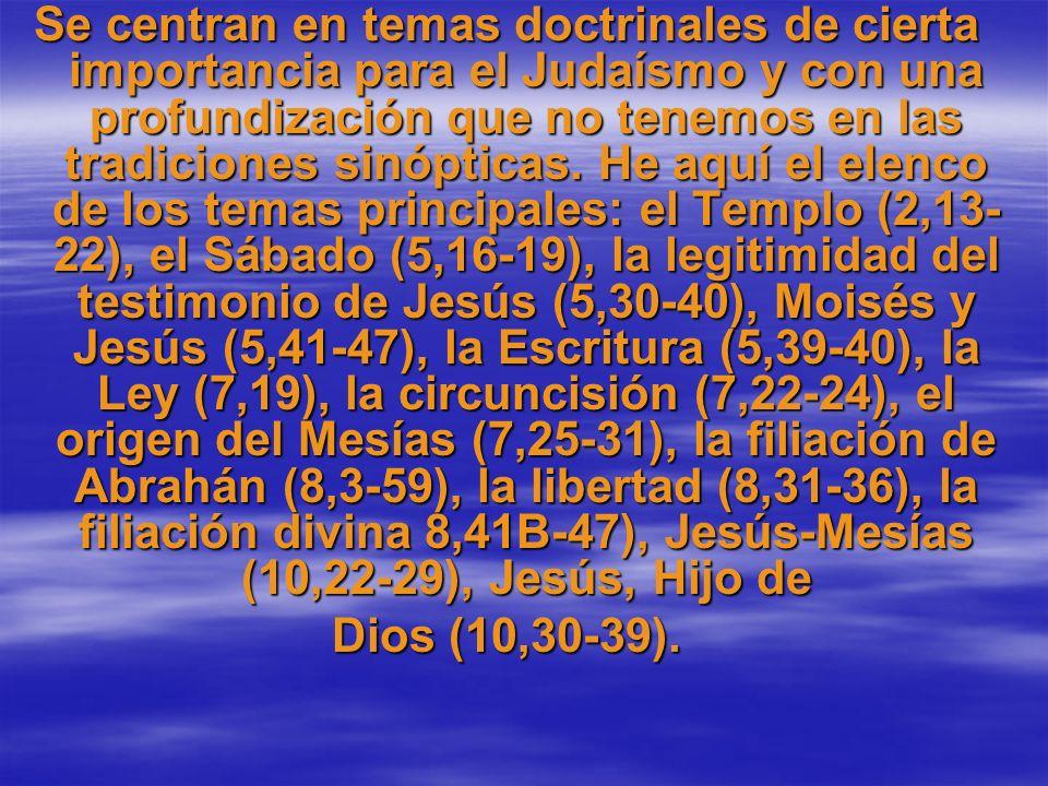 Se centran en temas doctrinales de cierta importancia para el Judaísmo y con una profundización que no tenemos en las tradiciones sinópticas. He aquí