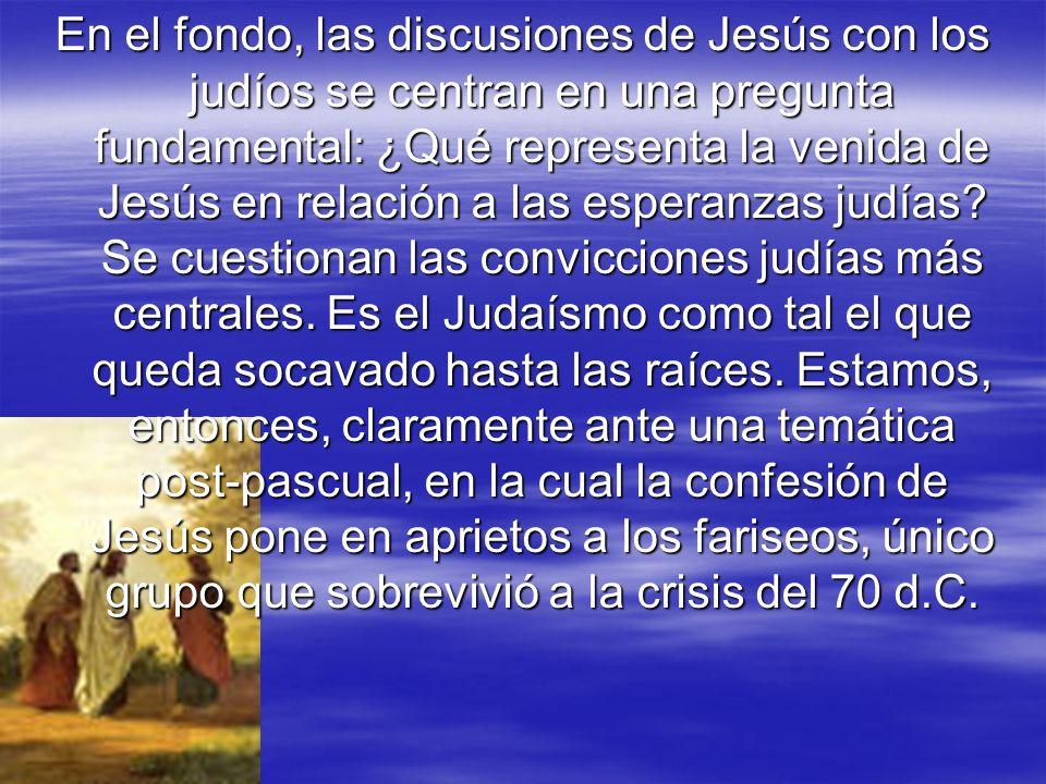 En el fondo, las discusiones de Jesús con los judíos se centran en una pregunta fundamental: ¿Qué representa la venida de Jesús en relación a las espe
