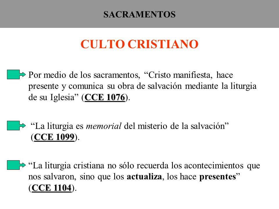 SACRAMENTOS CULTO CRISTIANO CCE 1076 Por medio de los sacramentos, Cristo manifiesta, hace presente y comunica su obra de salvación mediante la liturg