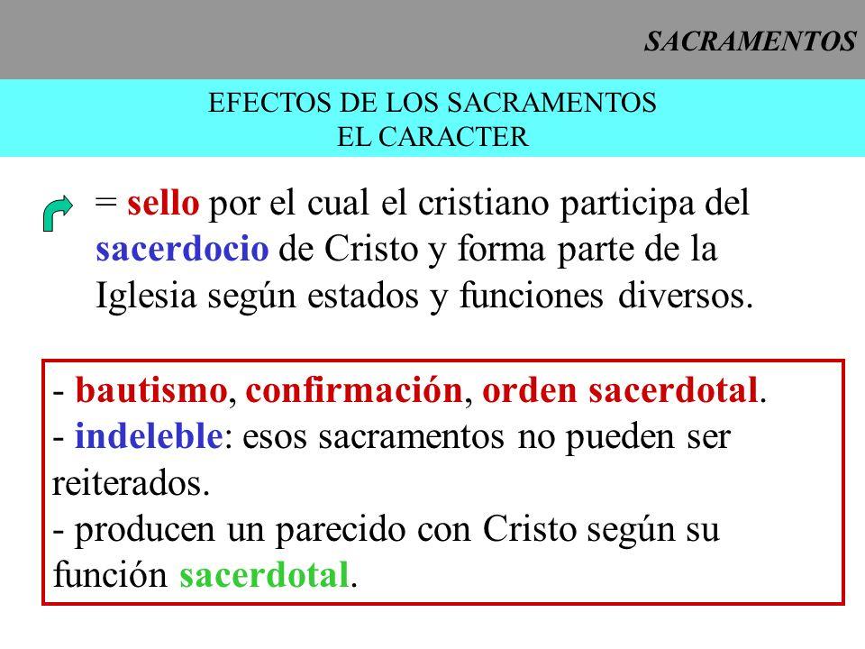 SACRAMENTOS EFECTOS DE LOS SACRAMENTOS EL CARACTER = sello por el cual el cristiano participa del sacerdocio de Cristo y forma parte de la Iglesia seg