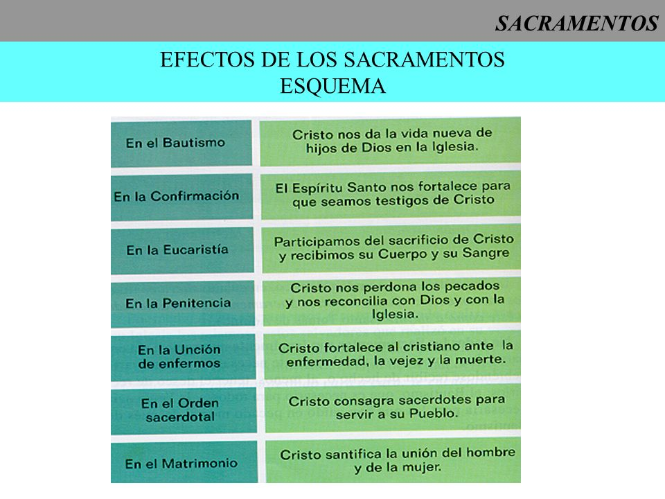 SACRAMENTOS EFECTOS DE LOS SACRAMENTOS ESQUEMA