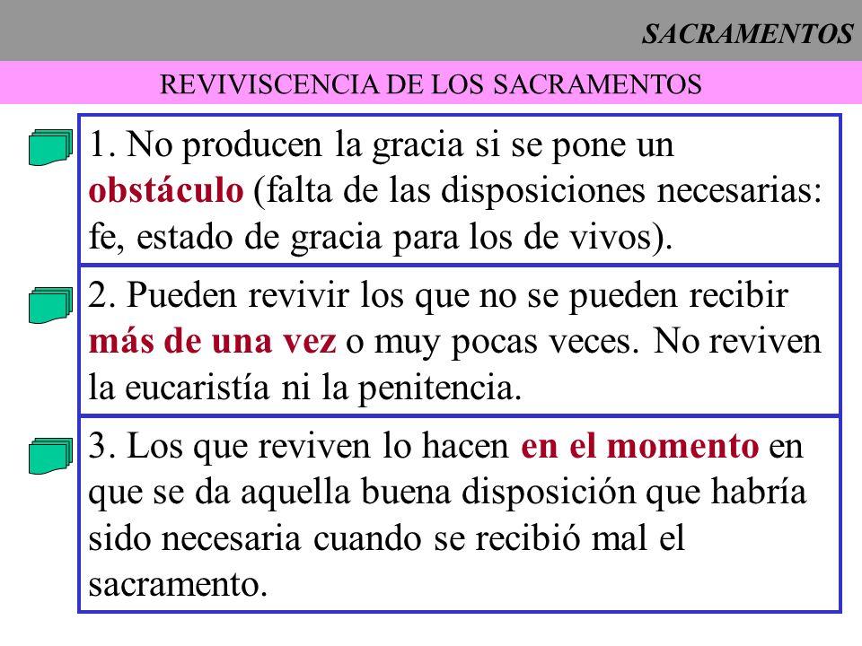 SACRAMENTOS REVIVISCENCIA DE LOS SACRAMENTOS 1. No producen la gracia si se pone un obstáculo (falta de las disposiciones necesarias: fe, estado de gr