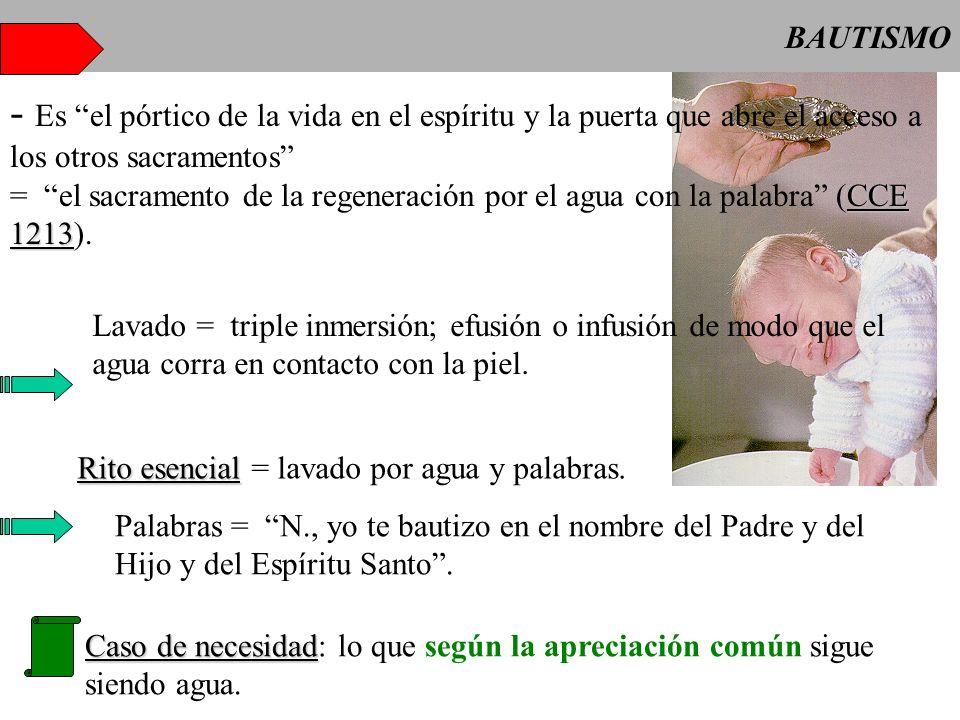 BAUTISMO - Es el pórtico de la vida en el espíritu y la puerta que abre el acceso a los otros sacramentos CCE 1213 = el sacramento de la regeneración