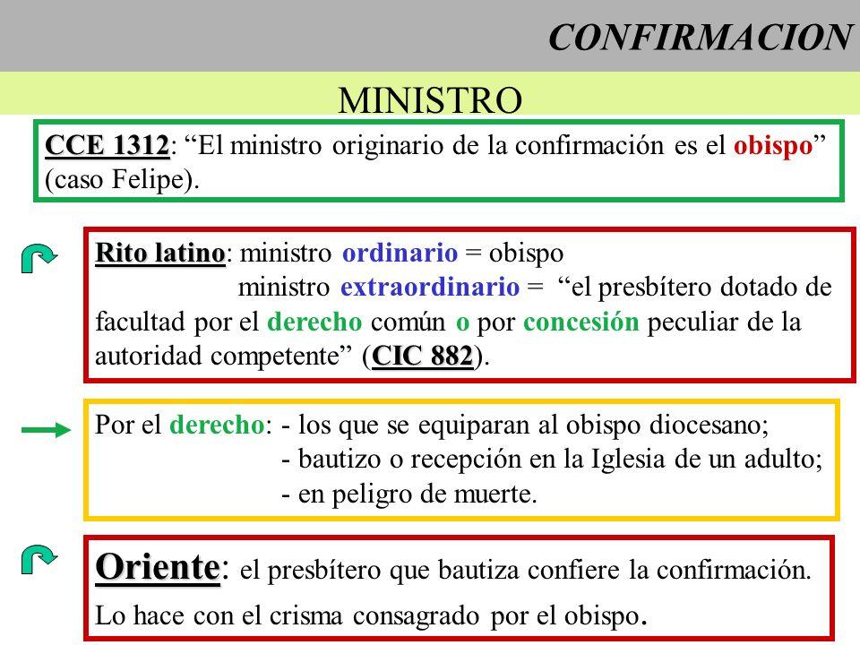 CONFIRMACION MINISTRO CCE 1312 CCE 1312: El ministro originario de la confirmación es el obispo (caso Felipe). Rito latino Rito latino: ministro ordin