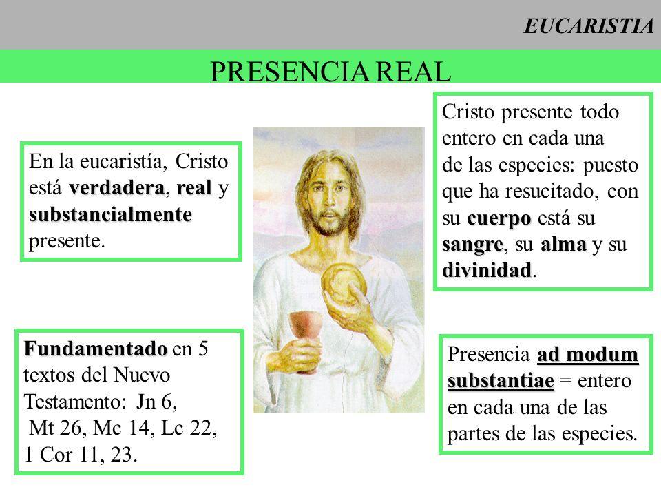 EUCARISTIA PRESENCIA REAL Cristo presente todo entero en cada una de las especies: puesto que ha resucitado, con cuerpo su cuerpo está su sangrealma s