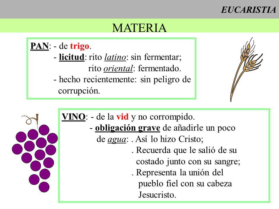 EUCARISTIA MATERIA PAN PAN: - de trigo. - licitud: rito latino: sin fermentar; rito oriental: fermentado. - hecho recientemente: sin peligro de corrup