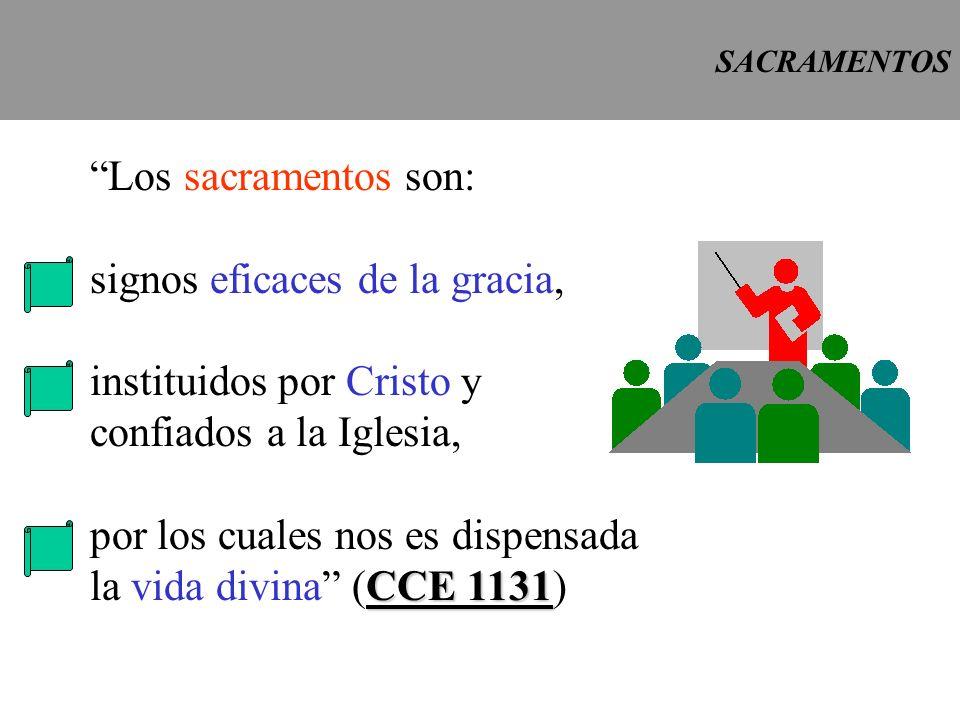 Los sacramentos son: signos eficaces de la gracia, instituidos por Cristo y confiados a la Iglesia, por los cuales nos es dispensada CCE 1131 la vida